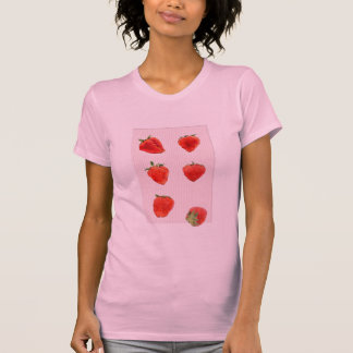 Camiseta rosada de las señoras de las rayas de las