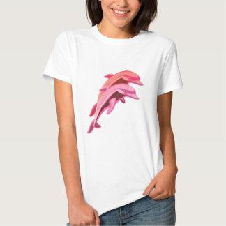Camiseta rosada de las señoras del diseño del poleras