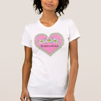 Camiseta rosada del corazón de Edelweiss Playera
