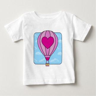 Camiseta rosada del globo del aire caliente del playera para bebé