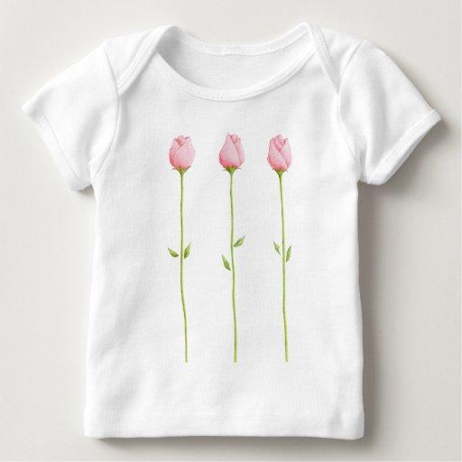Camiseta rosada del niño de 3 capullos de rosa
