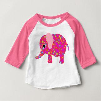 Camiseta (ROSADA) del raglán de la manga del bebé Remeras