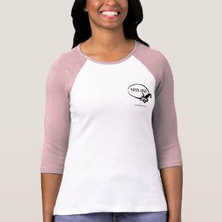 Camiseta rosada del raglán de las mujeres de remera