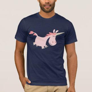Camiseta rosada del unicornio del dibujo animado