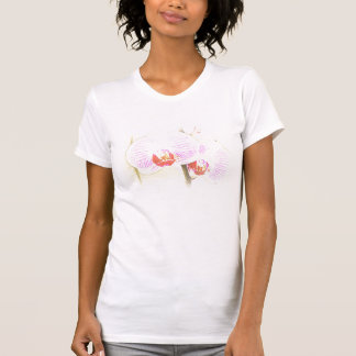 Camiseta rosada elegante de las orquídeas playera
