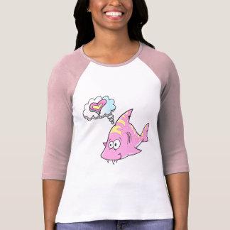 Camiseta rosada linda de la burbuja del pensamient