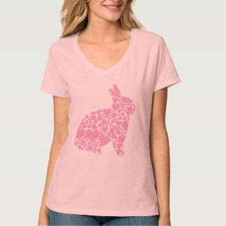 Camiseta rosada linda del conejo de conejito de playeras