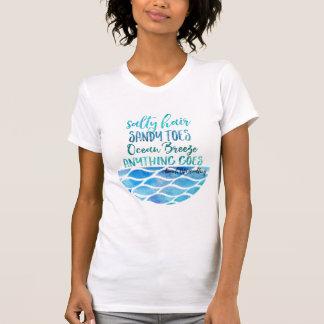 Camiseta salada de la cita de la playa del océano