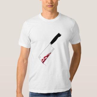 Camiseta sangrienta de la cuchilla de carne remeras