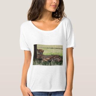 Camiseta simple de Flowy del guepardo de las Playeras