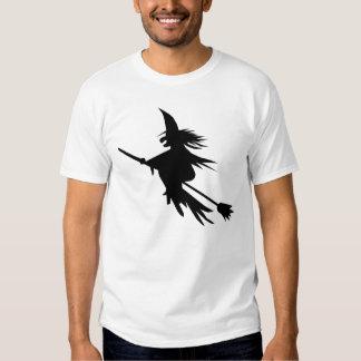 Camiseta simple de Halloween de la bruja del vuelo Poleras