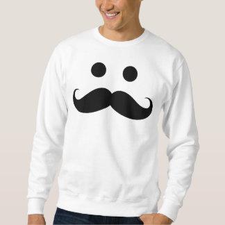 Camiseta sonriente de la cara del bigote divertido sudadera