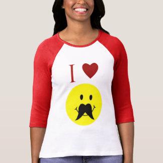 Camiseta sonriente del corazón del bigote de la