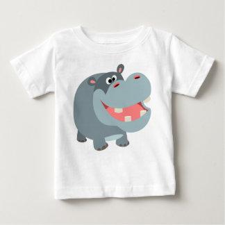 Camiseta sonriente linda del bebé del hipopótamo playeras