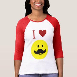 Camiseta sonriente linda del bigote de la cara del