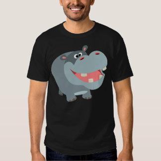 Camiseta sonriente linda del hipopótamo del dibujo poleras
