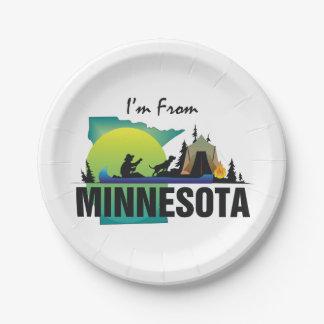 CAMISETA soy de Minnesota Plato De Papel De 7 Pulgadas