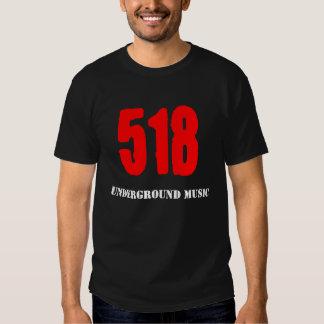 Camiseta subterráneo del negro de la música 518 camisas