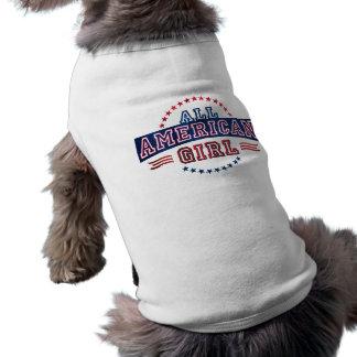 Camiseta Todo-Americana del perro del chica Playera Sin Mangas Para Perro