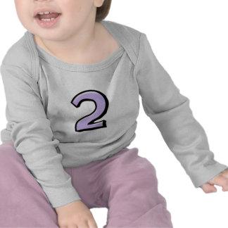 Camiseta tonta del niño de la lavanda del número 2