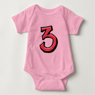 Camiseta tonta del niño del rojo del número 3
