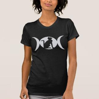 Camiseta triple del gato de la luna