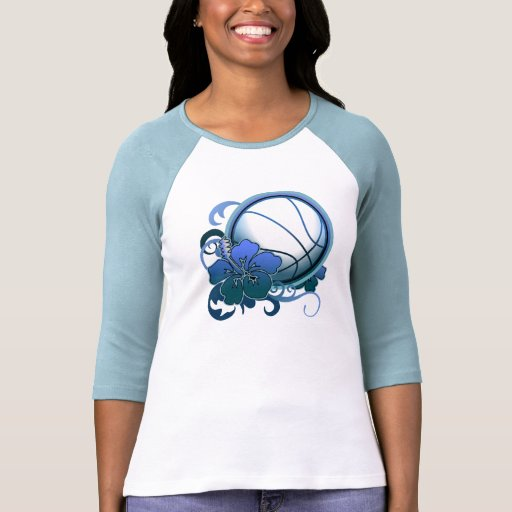 Camiseta tropical del azul de la flor del balonces