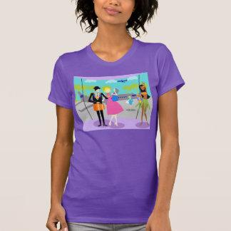 Camiseta tropical retra de las vacaciones
