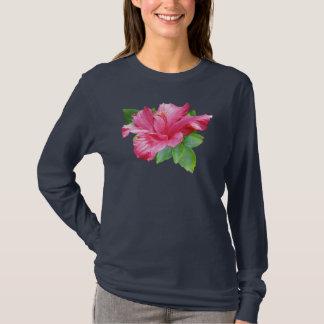 Camiseta tropical rosada del hibisco