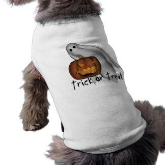 Camiseta, truco o invitación del perro de Hallowee Playera Sin Mangas Para Perro