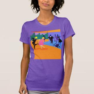 Camiseta urbana retra del fiesta del tejado