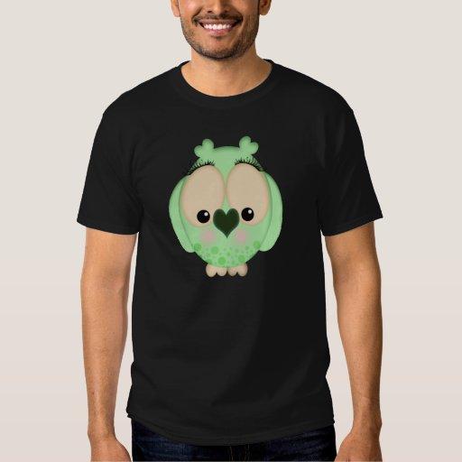 Camiseta verde bonita del búho polera