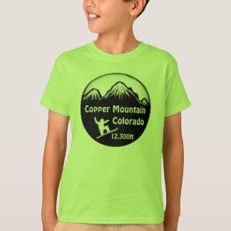 Camiseta verde de la snowboard de los muchachos de poleras