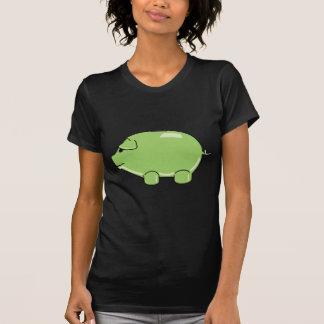 Camiseta verde de las señoras del cerdo polera