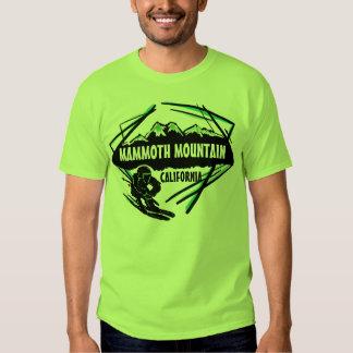 Camiseta verde de los individuos del esquí de playeras