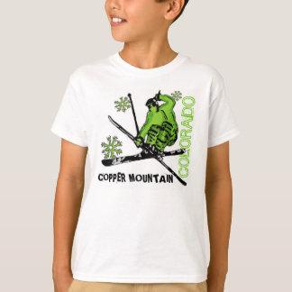 Camiseta verde de los muchachos del esquiador de remeras