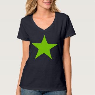 Camiseta verde de neón del diseño de la estrella playeras
