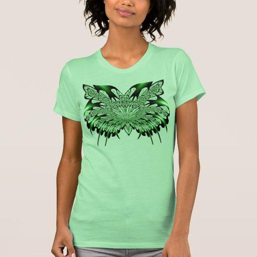 Camiseta verde del arte del fractal