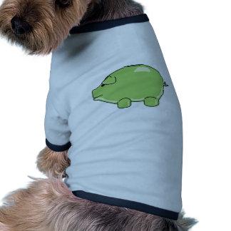 Camiseta verde del mascota del cerdo camiseta de perrito