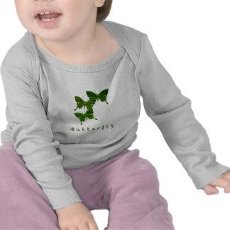 Camiseta verde del niño del trío de la mariposa