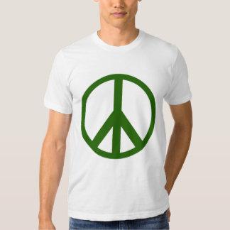 Camiseta verde del signo de la paz camisas
