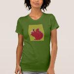 Camiseta verde oliva del arte pop de la ardilla