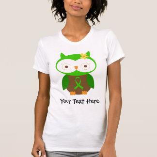 Camiseta verde personalizada del búho de la cinta poleras