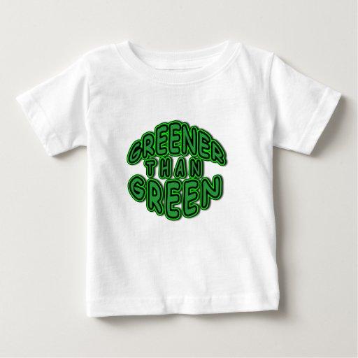 Camiseta verde redonda del logotipo de la