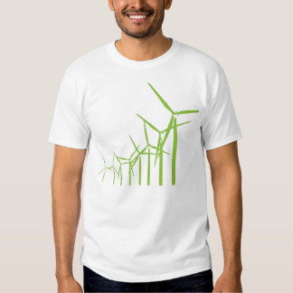 Camiseta verde retra de la turbina de viento poleras