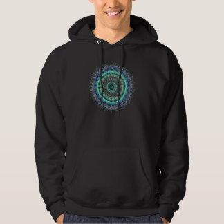 Camiseta verde viva del caleidoscopio de la suéter con capucha