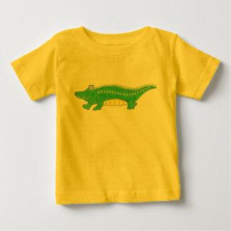 Camiseta verde y amarilla del cocodrilo del camisas
