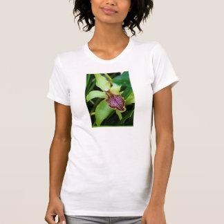 Camiseta verde y rosada de la orquídea playera