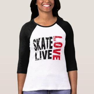 Camiseta viva del amor del patín de las mujeres