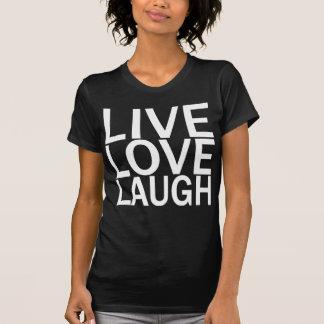 Camiseta viva del negro de la risa del amor playeras